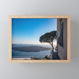 Lone Tree in Thira, View of Volcano in Santorini Framed Mini Art Print
