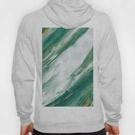 Emerald Jade Green Gold Accented Painted Marble Hoody
