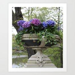 Bow Bridge Flower Pot Art Print