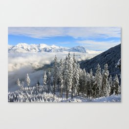 Italian Alps Snow Covered Landscape Canvas Print
