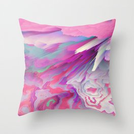 Loud Silence Glitched Fluid Art Throw Pillow