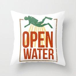 Open Water Diving Dive Guide Scuba Buddy Throw Pillow
