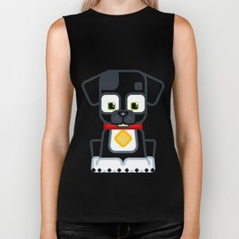 Super cute animals - Cute Black Puppy Dog Biker Tank