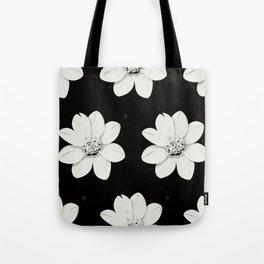 White flower Black background Tote Bag
