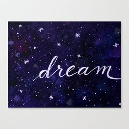 Watercolor galaxy dream - dark blue Canvas Print