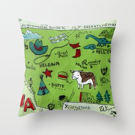 MONTANA map Throw Pillow