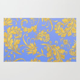 Queenlike- gold floral ornaments on blue backround-luxury pattern Rug
