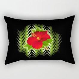 red hibiscus at midnight Rectangular Pillow