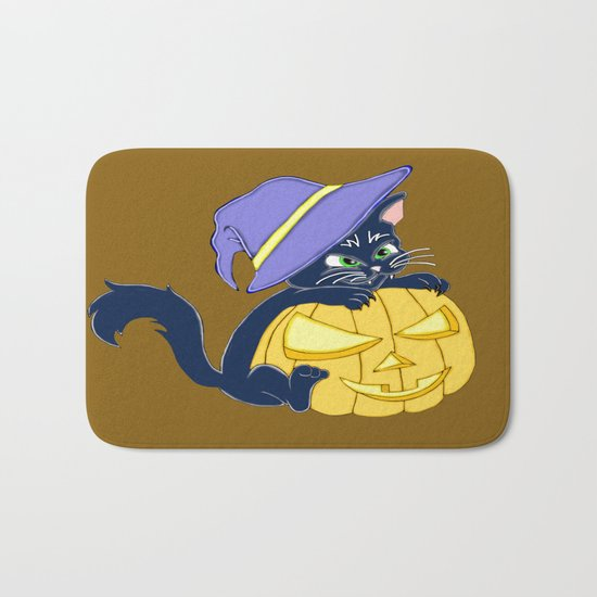 Mischievous Black Cat and Pumpkin Bath Mat