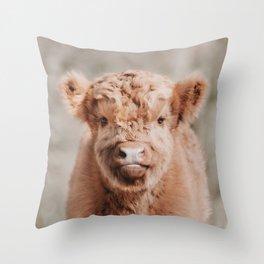 Scottish Highlander Portrait Art Print   Animal Photography   Scottish Highland Cow Baby Calf Throw Pillow
