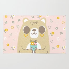 Cute Bear Holding a Plant Rug