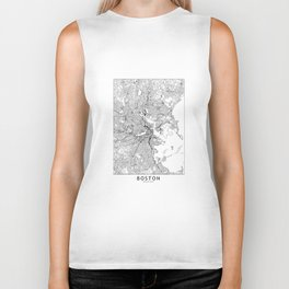 Boston White Map Biker Tank