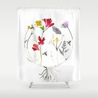 drum Shower Curtains featuring Calico Drum by Ellie Knight Design & Illustration