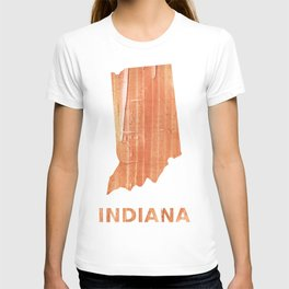 Indiana map outline Orange Brown Striped watercolor T-shirt