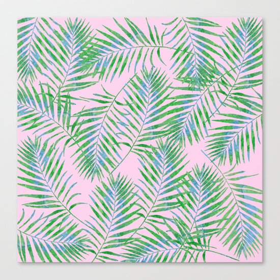Fern Leaves Pink Canvas Print