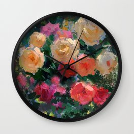 Yellow & Pink Roses Wall Clock