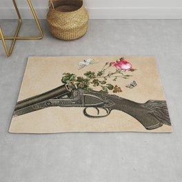 One Gun, One Rose, Two Moths Rug