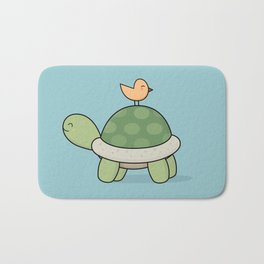 Kawaii Cute Tortoise And Bird Bath Mat