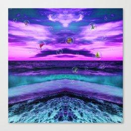 Ultra violet Birds in  bubbles Canvas Print