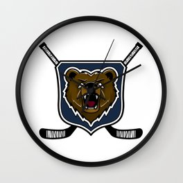 Modern professional grizzly bear logo for a sport team Wall Clock