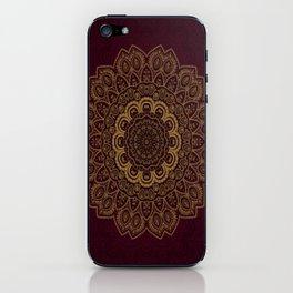 Gold Mandala on Royal Red Background iPhone Skin