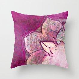 Pink Watercolor Mandala Throw Pillow