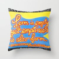 buddhism Throw Pillows featuring Buddhism words of Bodhisattva Avaloketeshvara painted and lettered by Sasso by ART to GO Sasso