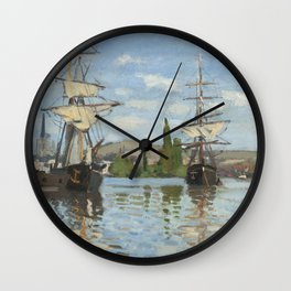 Claude Monet Ships Riding on the Seine at Rouen 18721873 Painting Wall Clock