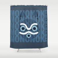 mononoke Shower Curtains featuring Mononoke Blue by Sierra Wheeler
