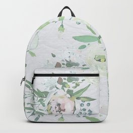 Blush pink white green watercolor modern floral berries pattern Backpack