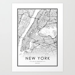 New York City Map United States White and Black Art Print