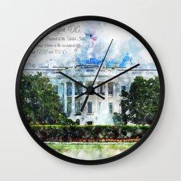 White House, Washington DC, Watercolor Wall Clock