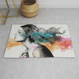 Moral Eclipse II (portrait of woman with doodles sketch) Rug