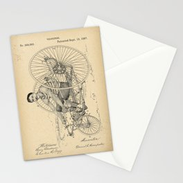 1887 Patent Velocipede wheel Bicycle archive history invention Stationery Cards