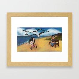 Seagull Attack! Framed Art Print