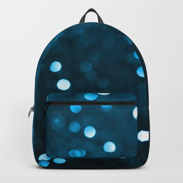 Cyan Blue Sparkly Bokeh Backpack