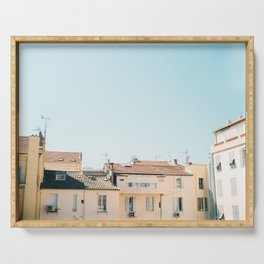 Pretty pretty Cannes   Pastel colored apartment buildings in the South of France Serving Tray
