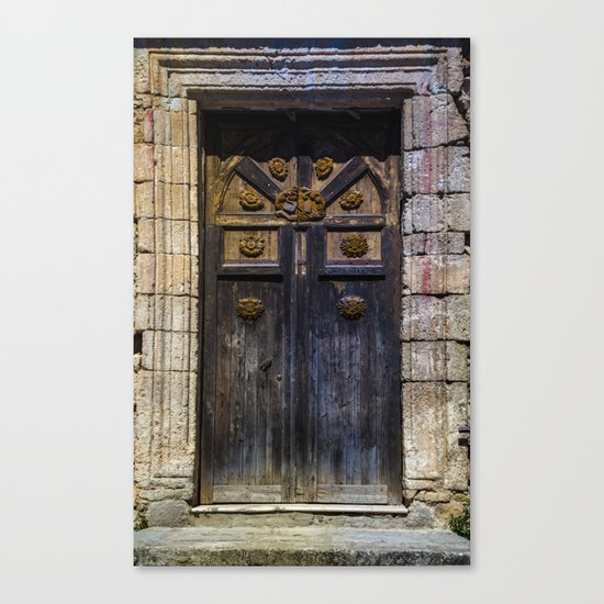 Old brown door Canvas Print
