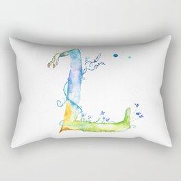 Letter L watercolor - Watercolor Monogram - Watercolor typography - Floral lettering Rectangular Pillow