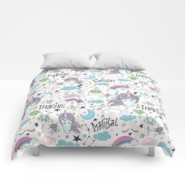 Magical Rainbow, Unicorn And Crystal Pattern Comforters