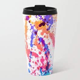Energetic Expressive Multicolor Paint Splatter Travel Mug