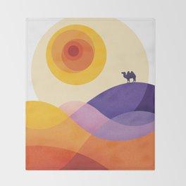 Sun, Desert, Waves of Sand and Camel Throw Blanket
