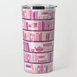 Bookcase Pattern Romance Pink Books Travel Mug