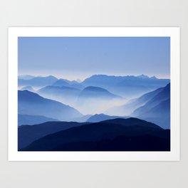 Periwinkle Landscape Mountains Parallax Art Print