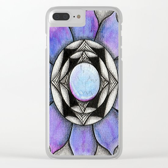 Doodled Gem Bloom Clear iPhone Case