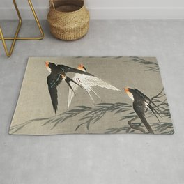 Red tailed swallows in flight - Japanese vintage woodblock print art Rug