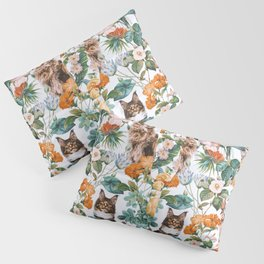 Cat and Floral Pattern III Pillow Sham