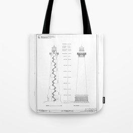 Vintage Cape Hatteras Lighthouse Blueprint Tote Bag