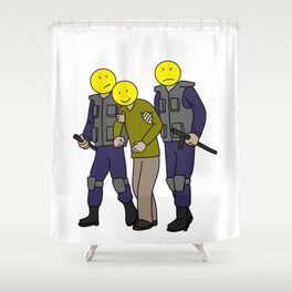 happy face police positive thinking Mantra Gift Shower Curtain