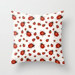 LOVING RED LADY BUGS  ON WHITE COLOR DESIGN ART Throw Pillow